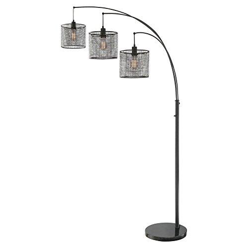 (Lite Source Hamilton Black Metal Grid 3-Light Arc Floor Lamp)