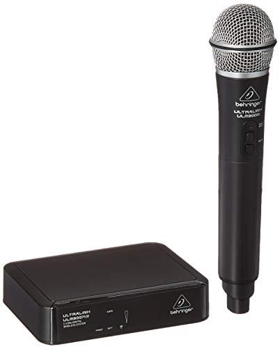 BEHRINGER ULM300MIC Sistema inalámbrico digital de 2,4 Ghz de alto rendimiento con micrófono y receptor de mano, negro y plateado