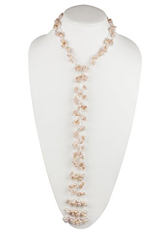 HinsonGayle 'Rosemarie' Handwoven 2-Strand Rose Quartz & Freshwater Cultured Pearl Lariat Necklace-42 in Length