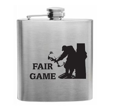 Sumaria Trader Stainless Steel 6 Oz Flask with Fair Game Hunting