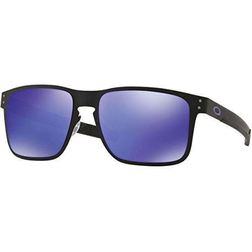 Oakley Men's OO4123 Holbrook Metal Square Sunglasses, Matte Black/Violet Iridium, 55 mm (Oakley Holbrook Metall)