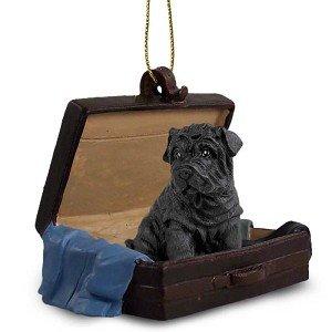(Black Chinese Shar Pei Traveling Companion Dog Ornament)