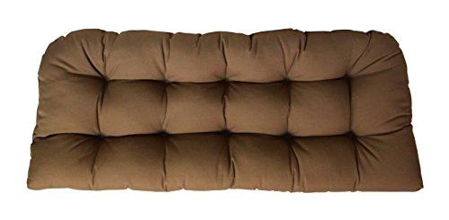 Cushion Chestnut Brown Sunbrella - RSH Decor Sunbrella Canvas Chestnut Love Seat Cushion - Indoor/Outdoor 1 Tufted Wicker Loveseat Settee Cushion