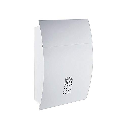 Xiao Jian Mailbox - High Security Steel Locking Wall Mounted Mailbox - Office Drop Box - Comment Box - Letter Box - Deposit Box, Black, White Size :45.5x5x37cm Mailbox (Color : White)