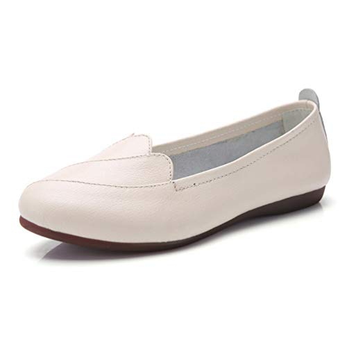 Women Loafers Flat Solid Shoes Split Leather Sewing Pointed Toe Slip On...