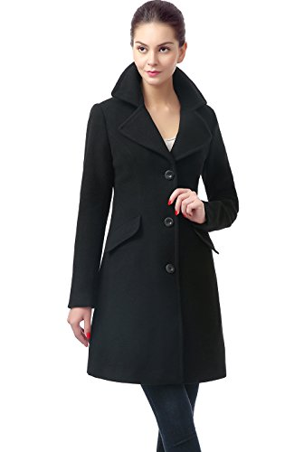 BGSD Women's 'Sasha' Wool Blend Walking Coat – XL Black