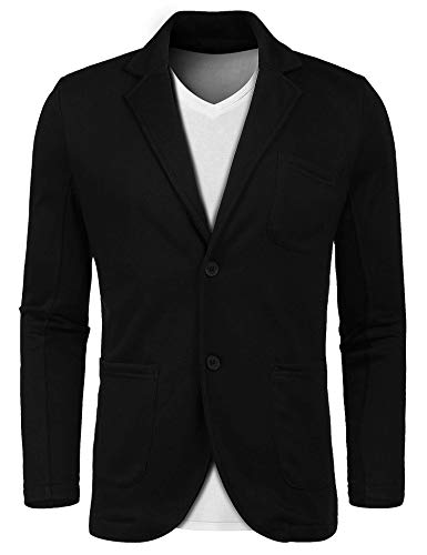 Lunir Men's Little Slim Lightweight Soft Ruched Sleeve Black Blazer Elegant by Lunir