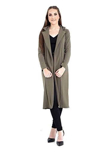 Frauen Langarm Lange Linie Ergattertes Duster Damen-Mantel-Jacke Top Größe UK 8-14 Khaki