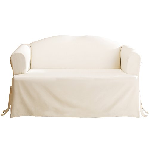 Duck Chair Slipcover Box Seat - SureFit Duck Solid T-Cushion - Sofa Slipcover  - Natural (SF28611)