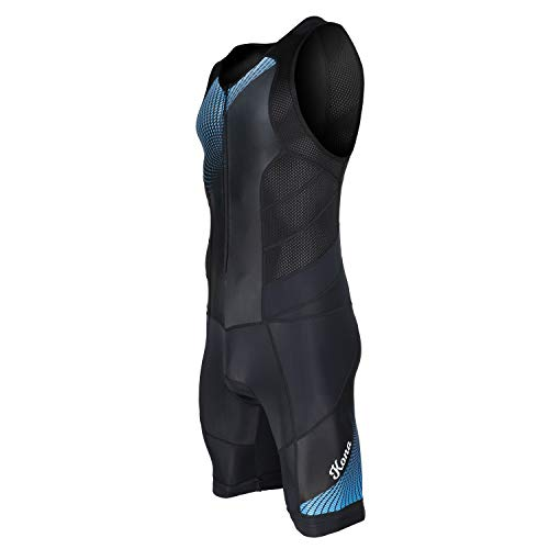 Triathlon Apparel - KONA Tri Apparel Youth Triathlon Race Suit - Speedsuit Skinsuit Trisuit Sleeveless - One-Piece Vest and Short Combo That Half zips with a Rear Pocket for Storage (Blue Graphics, Youth 16)