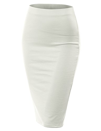 CLOVERY Women's Slim Vintage Back Slit Pencil Skirts for Women Ivory M