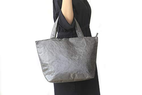 Grocery Tote Bag for Shopping Beach Pockets inside with Zipper Water Resistant Lightweight Tote Bag for Traveling School Books with Handle for Women Gray