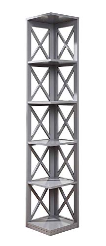 Convenience Concepts Oxford 5Tier Corner Bookcase Gray