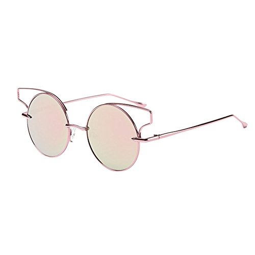 AMAZZANG-US Round Lens Cat Eye Sunglasses Metal Frame Cutout Hollow Out Sunglasses - Pink Darren Criss Sunglasses Buy