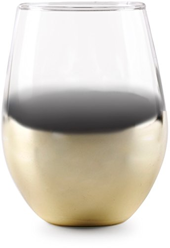 Circleware 76816 Gold Ombre Stemless Wine Glasses, Set of 4 Drinking Glassware for Water, Juice, Beer, Liquor and Best Selling Kitchen & Home Decor Bar Dining Beverage Gifts, 18.9 oz, Clear ()