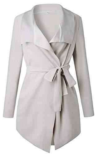 Atada Cardigans Larga Abrigo Blazer Outwear Beige Invierno Elegante Minetom la Chaqueta 01 Hem Otoño Manga a Mujer Coat Cintura La Asimétrico gFvqWwSxC