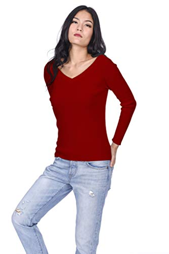 State Cashmere Women's 100% Cashmere Soft V-Neck Pullover Sweater (Medium, Red)