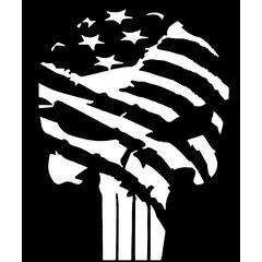 "Punisher Skull Flag America USA Military Vinyl Decal Sticker|WHITE|Cars Trucks Vans SUV Laptop Wall Art|5.5"" X 4""|CGS113"