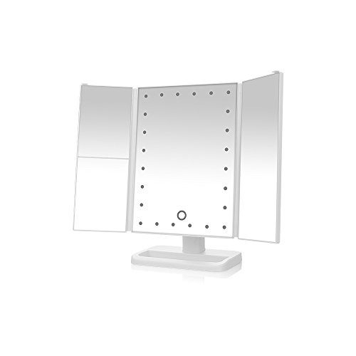 WanEway Tri-Fold Lighted Vanity Mirror with 24 LED Lights, Touch Screen and 3X/2X Magnification Mirror, Two power Supply Mode Tabletop Makeup mirror,Travel Cosmetic Mirror, White (Halloween Contact Lenses)