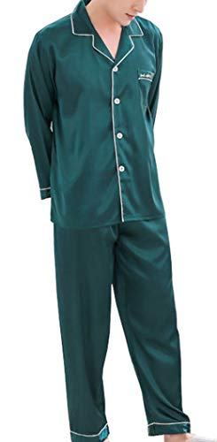- Respeedime Men Ice Silk Pajamas Spring and Autumn Long Sleeve Two Piece Sleep Set Thin Home Service Sleepwear XXL, Dark Green