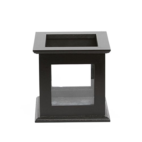 Black Wood 6-inch Glass Display Keepsake Box, Candle Holder, or Cork Keeper - Glass Wood Candle