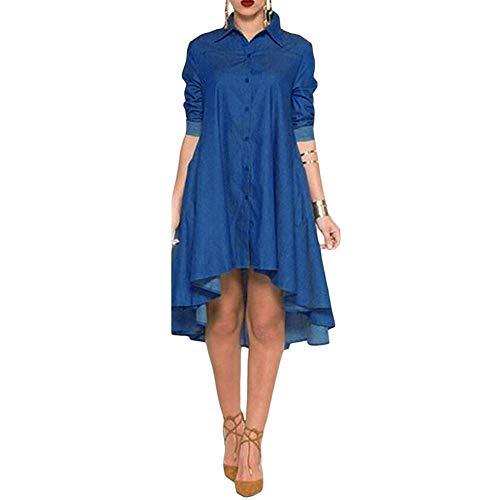 EINCcm Women Asymmetrical Hem Button Down Long Sleeves Turn Down Neck Denim a-Line Swing Shirt Dress(Blue, M) ()
