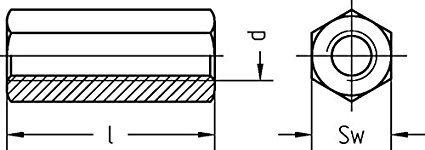 Distanzbolzen 6-kant M8 x 40mm verzinkt SN-TEC Distanzmutter//Langmutter 10 St/ück