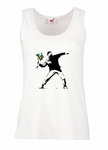 "Camiseta de tirantes mujer ""Flower Bomber"" - BANKSY 100% algodòn LaMAGLIERIA"