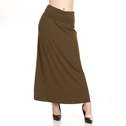 (X America Womens Long Stylish Foldover Maxi Skirt, Rayon Spandex, Junior & Plus Dark Olive)