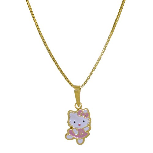 14K Yellow Gold Pink Enamel Dancing Hello Kitty Charm ()