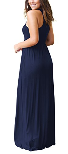 Women With Blue Plain Dresses Navy Dellukee Pockets Sleeveless Dresses Maxi Casual Loose Long 4dxwOHqUw