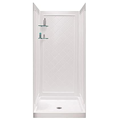 DreamLine Shower Base Back Walls White Acrylic Wall Floor 4 Piece Alcove  Shower Kit Shower