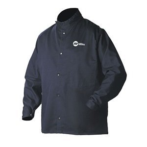 Welding Jacket, Navy, Cotton/Nylon, L by Miller Electric