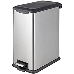 HomeZone 40-Liter Stainless Steel Rectangular Step Trash Can