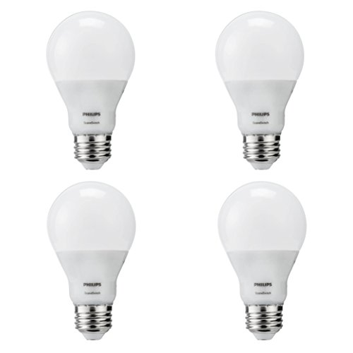 Philips 464883 60W Equivalent SceneSwitch Brightness with Warm Glow A19 LED Light Bulb(4 Pack) (Philips Led Lighting)