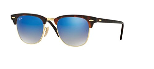 Ray Ban RB3016 CLUBMASTER 990/7Q 51M Shiny Red/Havana/Blue Flash Gradient Sunglasses For Men For ()