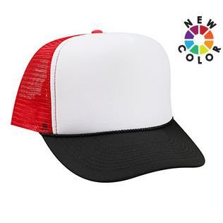 OTTO Polyester Foam Front 5 Panel High Crown Mesh Back Trucker Hat - Blk/Wht/Red ()