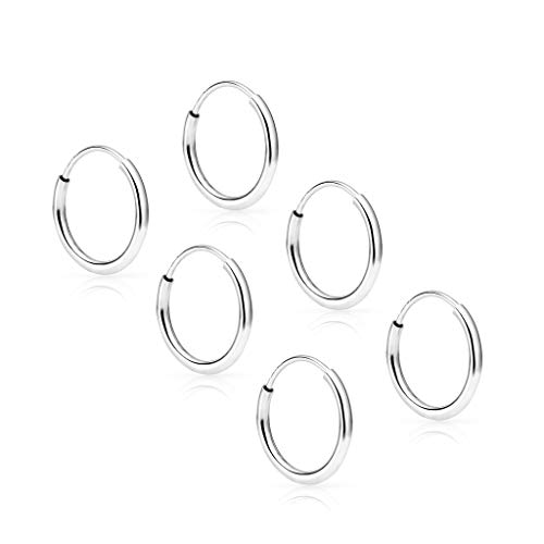 SOLIDGOLD - 14K Endless White Gold 10mm Infinity Hoop Sleeper Earrings 3 Pair Set ()