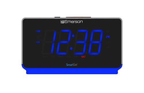 Emerson Radio ER100112 Smartset Clock Radio with Bluetooth Speaker, USB Charging, Night Light, 1.4 Blue Jumbo Display & Dual Alarm
