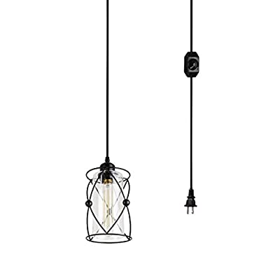 Creatgeek Modern Industrial Pendant Light with Clear Glass Cylinder Lampshade and Metal Frame
