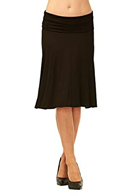 Red Hanger Womens Basic Solid Stretch Fold-Over Flare Midi Skirt by