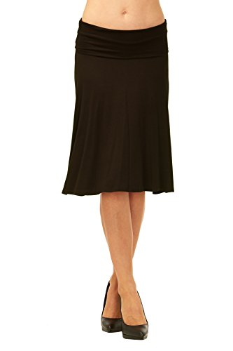 tretch Fold-Over Flare Midi Skirt (Black-M) (Knit Womens Skirt)