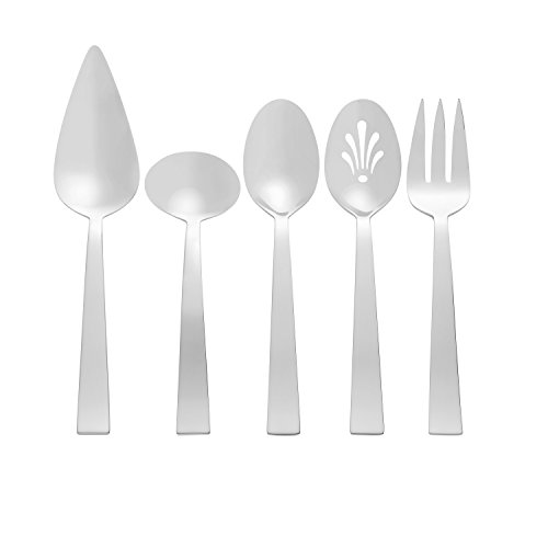 Vera Wang by Wedgwood Vera Bande 5 Piece Serving Set, Silver (Vera Wang Stainless Steel Spoon)