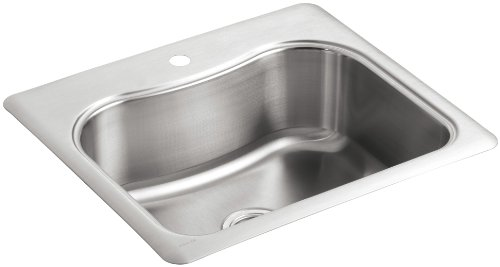 KOHLER K-3362-1-NA Staccato Single-Basin Self-Rimming Kitchen Sink, Stainless Steel - 1 Stainless Steel Kitchen Sink