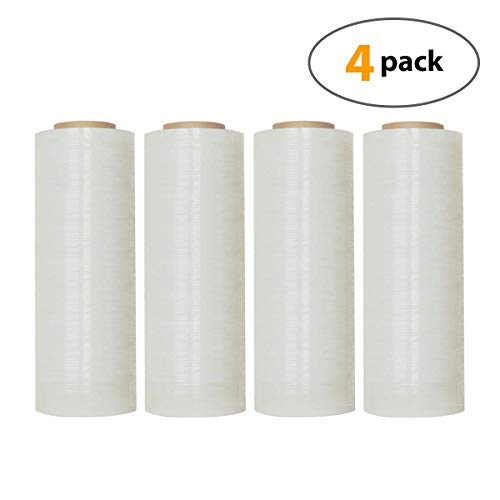 """18"""" X 1000 Feet Industrial Strength Pallet Clear Shrink Wrap 6.75 Lb Per Roll Thick 80 Gauge(20 Micron) Heavy Duty Self-Adhesive Durable Cling Stretch Film Wrap Packing Moving Box Furniture (4 Roll)"""