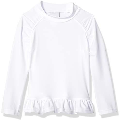 Flap Happy Toddler Girls' UPF 50+ Ruffle Rash Guard, White, 3 ()