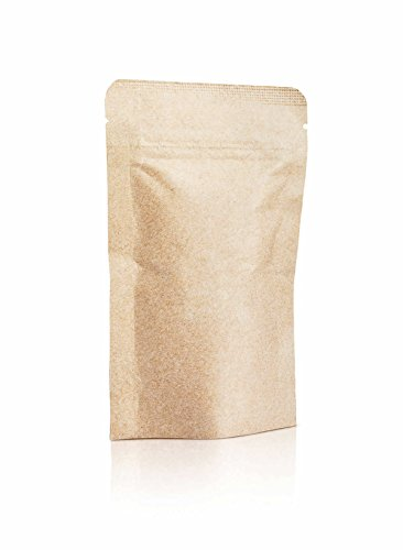 1 Oz Kraft Zip Lock Top Seal Flat Food Pouches - FDA and USDA Food Compliant (10 Pack)