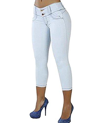 Mujer Casual Color Sólido Vaqueros Denim Pantalones Skinny Jeans Slim Fit Blanco