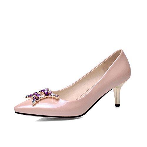 Balamasa Donna Placca Tacco Borchiato Fibbie Metalliche Fibbie In Pelle Imitata Scarpe-scarpe Lightpink