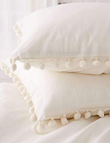 White Pom Pom Fringed Pillowcases Pillow Covers,19.7in x35.5in,Set of 2 (King) (Bed Decorative Pillow Sizes)
